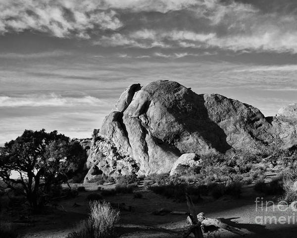 Arches National Park Poster featuring the photograph Arches Black And White by Wilma Birdwell