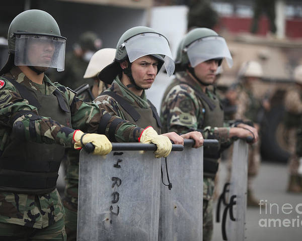 Military Poster featuring the photograph Argentine Marines Dressed In Riot Gear by Stocktrek Images