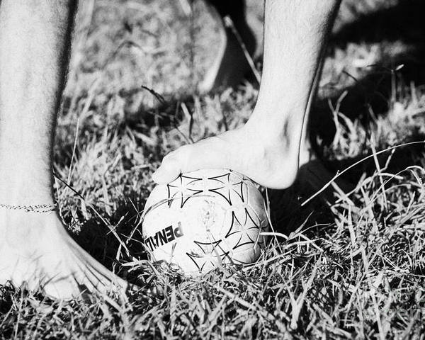 Men Poster featuring the photograph Argentinian Hispanic Men Start A Football Game Barefoot In The Park On Grass by Joe Fox