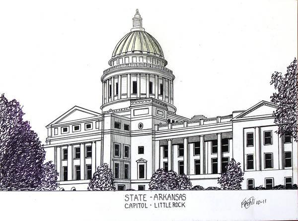 State Capitol Buildings Drawings Poster featuring the drawing Arkansas State Capitol by Frederic Kohli