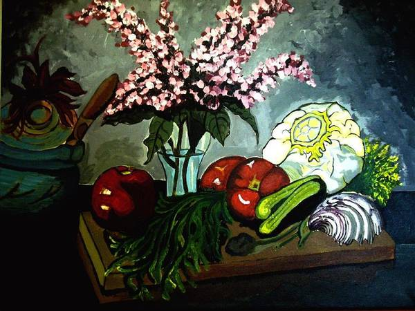 Cabbage Still Life Tomato Tomatos Heirloom Pickles Gurken Spinach Herbs Flowers Claypot Pottery Cutting Board Seashell Seashells Salad Lettuce Colorful Contrasts Shaded Shade Water Vase Leaf Leaves Leafy Greens Poster featuring the painting Artful Cuisine by Ulrike Proctor