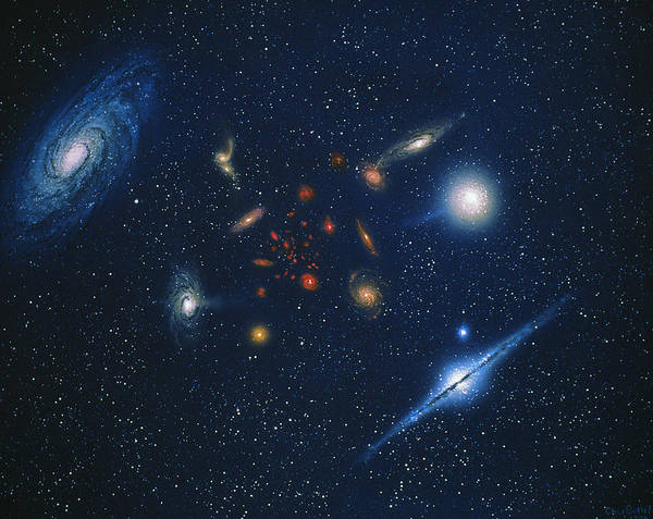 75ca79ed825 Red Shift Poster featuring the photograph Artwork Of Various Galaxies  Showing Red Shift by Chris Butler
