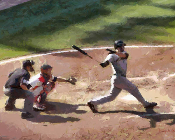 Baseball Poster featuring the painting At Bat by Lynne Jenkins