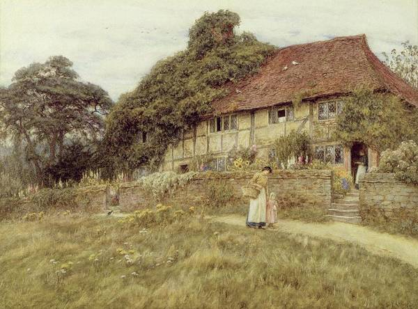 Female; Gate; Rural Scene; Country; Countryside; Home; Path; Garden; Wildflowers; Roses; Picturesque; Idyllic; Timber Frame; Half-timbered; House; Cottage; Mother And Child; Sunflowers; Daughter; Female Poster featuring the painting At Stedham Near Midhurst by Helen Allingham