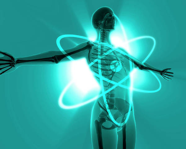 Horizontal Poster featuring the digital art Atomic Woman by MedicalRF.com