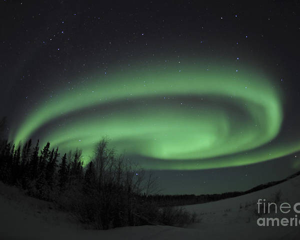 Yellowknife Poster featuring the photograph Aurora Borealis Over Vee Lake by Jiri Hermann