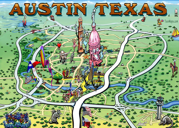 Austin Texas Fun Map Poster by Kevin Middleton on