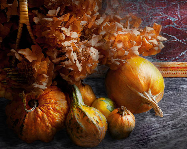 Pumpkin Poster featuring the photograph Autumn - Gourd - Still Life With Gourds by Mike Savad