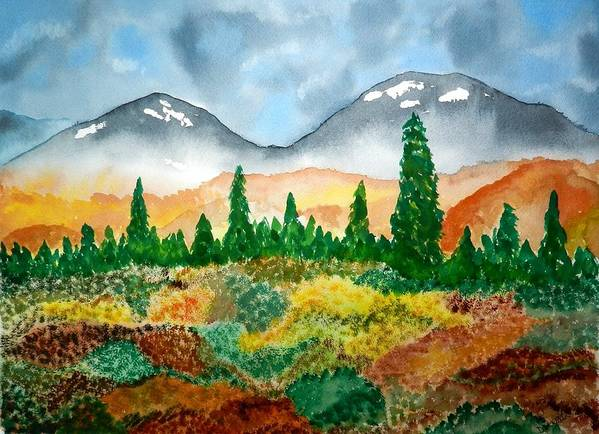 Alaska Mountains Autumn Poster featuring the painting Autumn In Alaska by Don L Williams