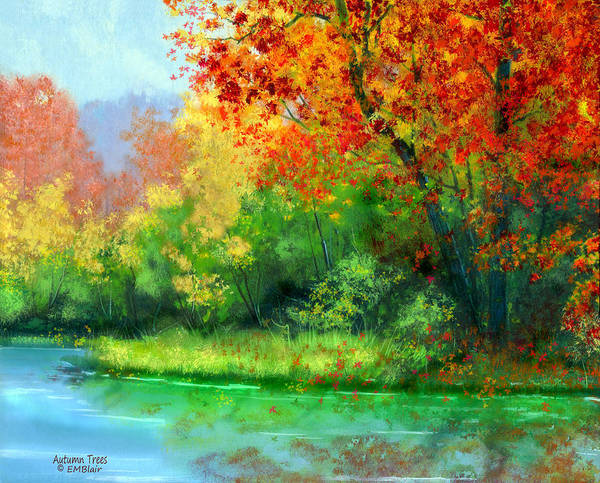 Nature Poster featuring the painting Autumn Trees by Eileen Blair