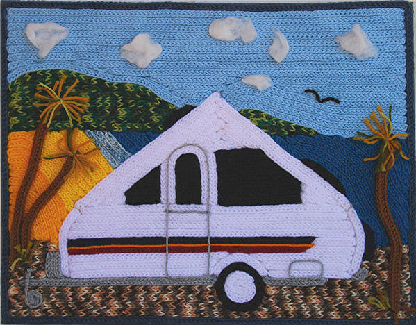 Landscape Poster featuring the tapestry - textile A'van By The Sea by Patricia Tapping