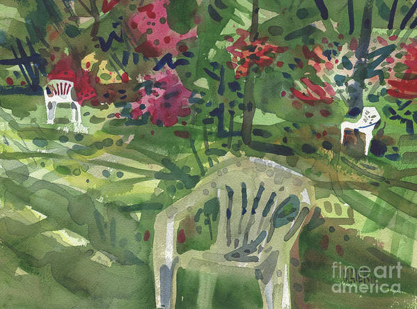 Furniture Poster featuring the painting Azaleas And Lawn Chairs by Donald Maier