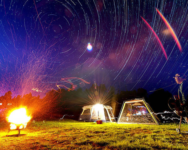 Fire Poster featuring the photograph Back Yard Camping by Aaron Priest