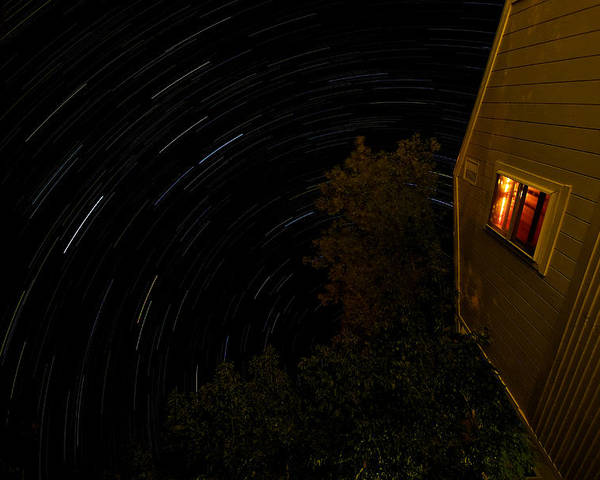 Summer Poster featuring the photograph Backyard Star Trails by Mike Horvath