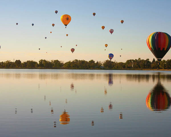 Horizontal Poster featuring the photograph Balloon Festival by Lightvision, LLC