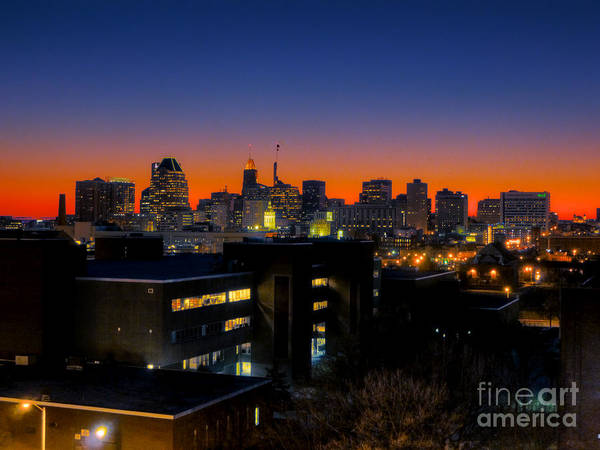 Hdr Photograph Poster featuring the photograph Baltimore At Sunset by Mark Dodd