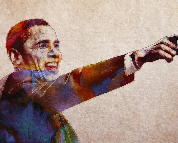 Barack Obama Water Watercolor Color Painting Texture President Usa Us 44 44th Poster featuring the painting Barack Obama Watercolor by Steve K