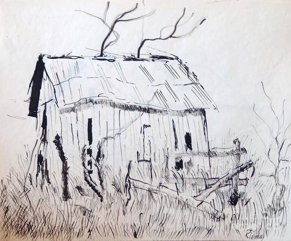 Barn Poster featuring the drawing Barn 1 by Rod Ismay