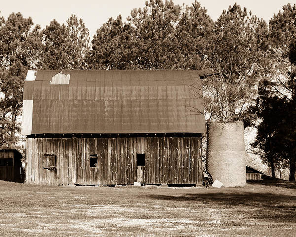 Barn Poster featuring the photograph Barn And Silo 1 by Douglas Barnett