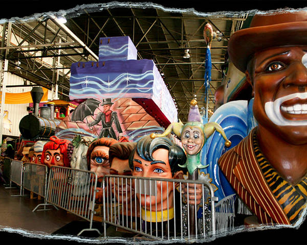Mardi Gras World Poster featuring the photograph Barricade Heads by Linda Kish