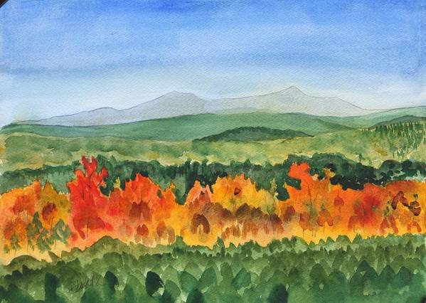 Barton Poster featuring the painting Barton Vermont Autumn by Donna Walsh
