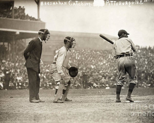 1908 Poster featuring the photograph Baseball Game, 1908 by Granger
