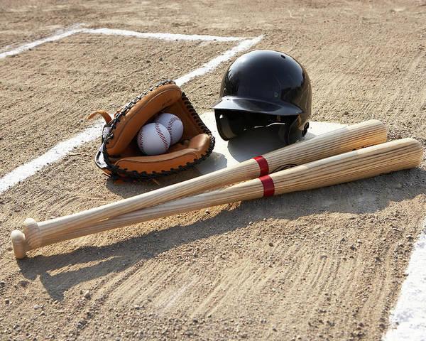 Horizontal Poster featuring the photograph Baseball Glove, Balls, Bats And Baseball Helmet At Home Plate by Thomas Northcut