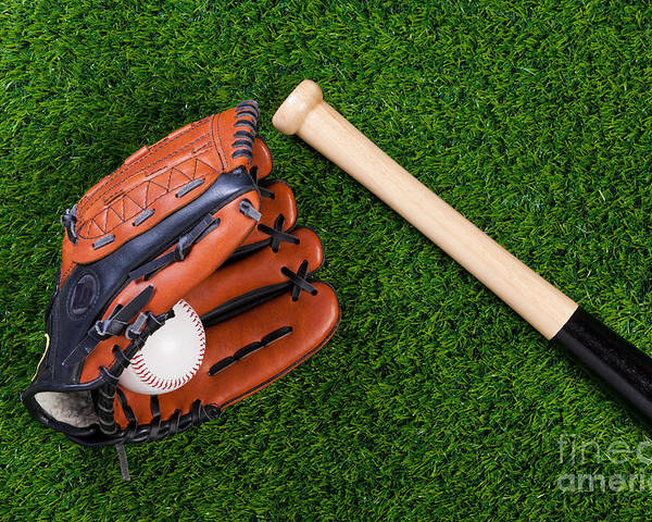 Baseball Glove Poster featuring the photograph Baseball Glove Bat And Ball On Grass by Richard Thomas