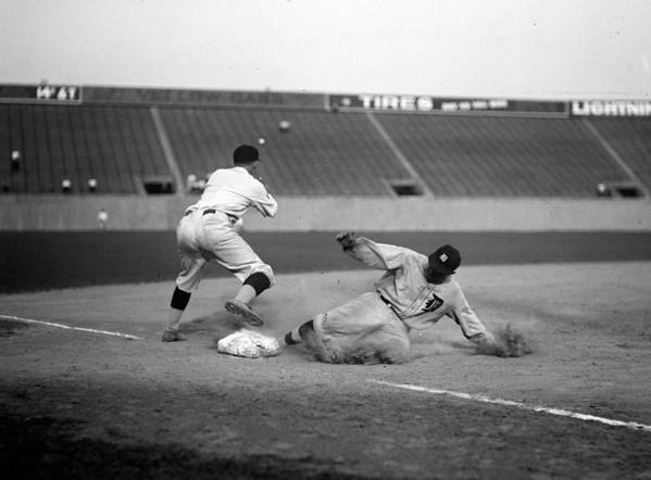 1920s Poster featuring the photograph Baseball. Ty Cobb Safe At Third by Everett