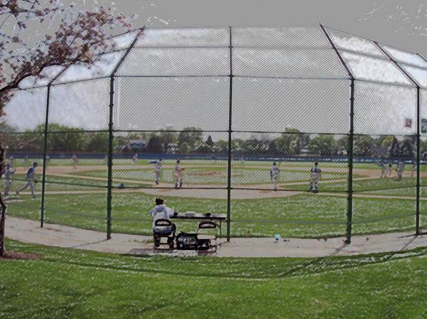 Sports Poster featuring the digital art Baseball Warm Ups Digital Art by Thomas Woolworth