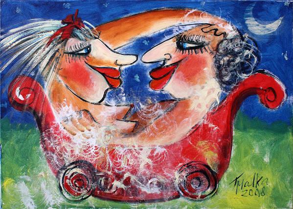 Bath Poster featuring the painting Bath Pleasure by Malka Tsentsiper