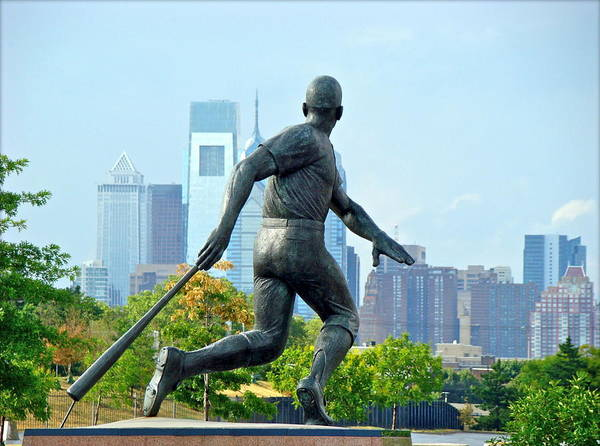 Baseball Statue Citizens Bank Park City View Philadelphia Poster featuring the photograph Batters City View by Alice Gipson