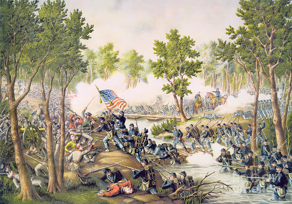 Ni; Spotsylvania; Battle; Battlefield; Union; Army;c Onfederate; U S A; Forces; Combat; Gunfire; Bayonets; Troops; Soldiers Poster featuring the painting Battle Of Spottsylvania May 1864 by American School