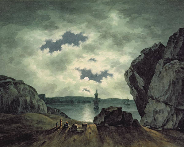 Bay Poster featuring the painting Bay Scene In Moonlight by John Warwick Smith