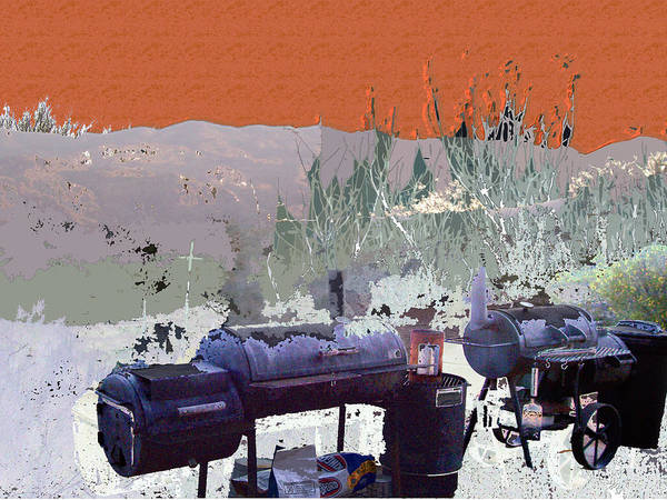 Poster featuring the digital art Bbq Smokers Arizona by Sally Fowler