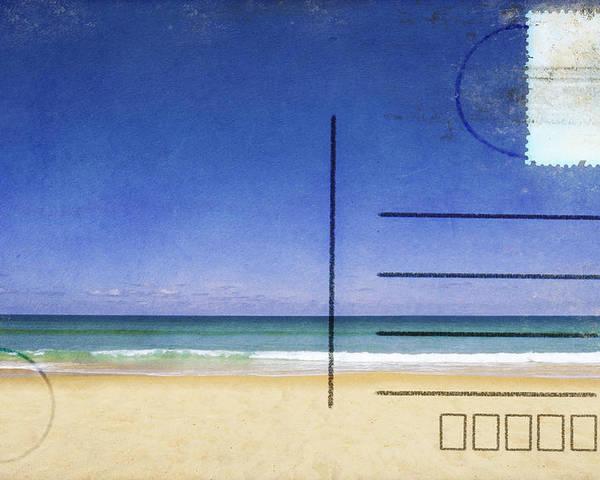 Address Poster featuring the photograph Beach And Blue Sky On Postcard by Setsiri Silapasuwanchai