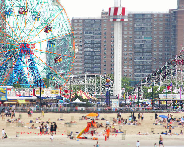 Horizontal Poster featuring the photograph Beachgoers At Coney Island by Ryan McVay