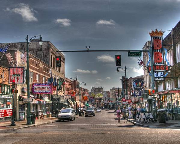 Beale Poster featuring the digital art Beale Street by Rick Ward