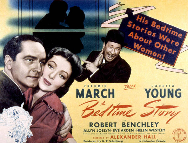 1940s Movies Poster featuring the photograph Bedtime Story, Fredric March, Loretta by Everett