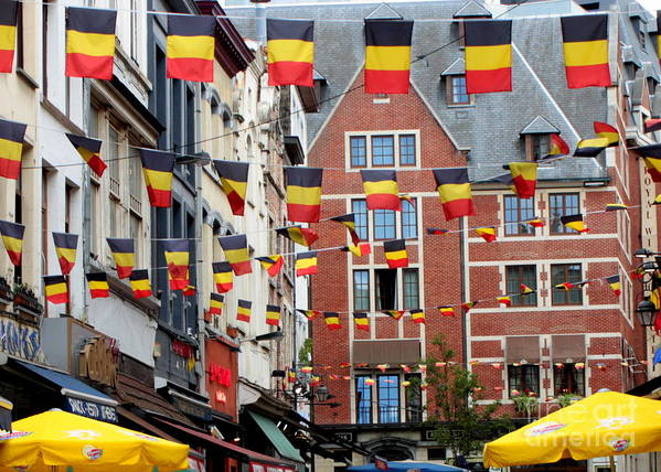 Belgium Poster featuring the photograph Belgian Flags In Brussels by Carol Groenen