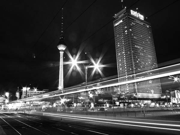Horizontal Poster featuring the photograph Berlin Alexanderplatz At Night by Bernd Schunack
