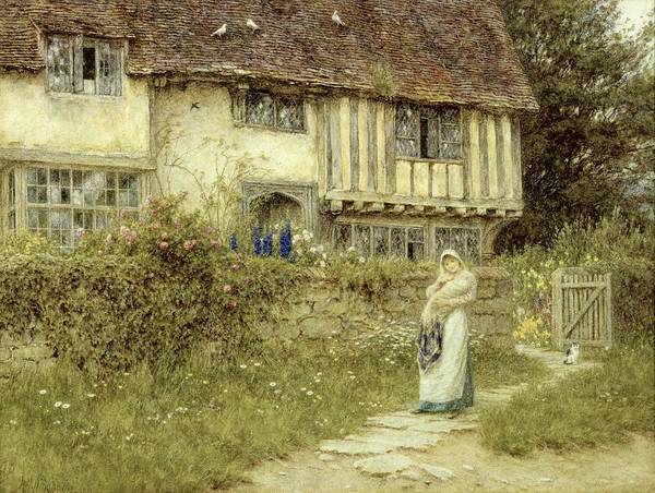 Cottage; Mother And Child; Gate; Rural Scene; Country; Countryside; Timber Frame; Half-timbered; Home; Path; Garden; Wildflowers Picturesque; Idyllic; House; Female Poster featuring the painting Beside The Old Church Gate Farm Smarden Kent by Helen Allingham