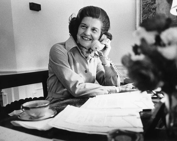 History Poster featuring the photograph Betty Ford Works At Her Desk Situated by Everett
