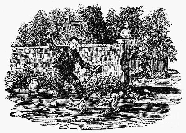 19th Century Poster featuring the photograph Bewick: Boy With Dogs by Granger
