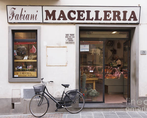 Advertisement Poster featuring the photograph Bicycle In Front Of Italian Delicatessen by Jeremy Woodhouse