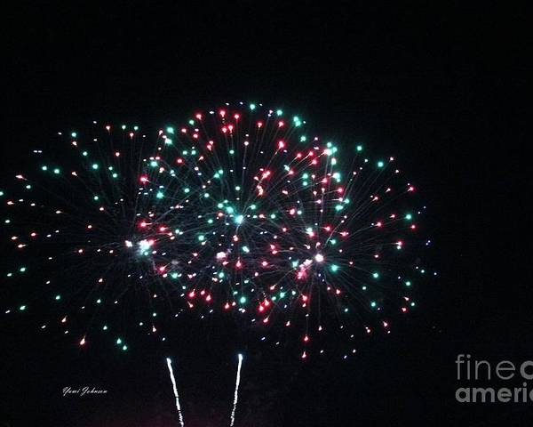 Fire Works Poster featuring the photograph Big 3 Rings On Sky by Yumi Johnson