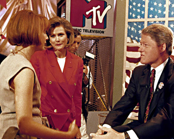 American Flag Poster featuring the photograph Bill Clinton, Being Interviewed by Everett