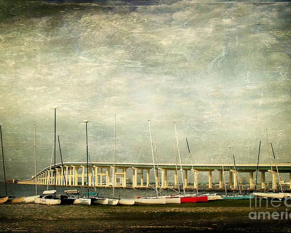Biloxi Ocean Springs Bridge Poster featuring the photograph Biloxi Bay Bridge by Joan McCool