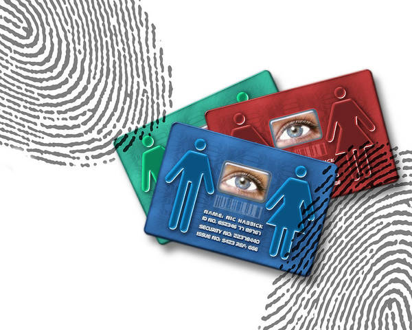 Technology Poster featuring the photograph Biometric Id Cards by Victor Habbick Visions