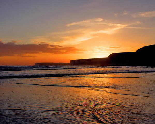 Sunset Poster featuring the photograph Birling Gap Beach by Phil Clements